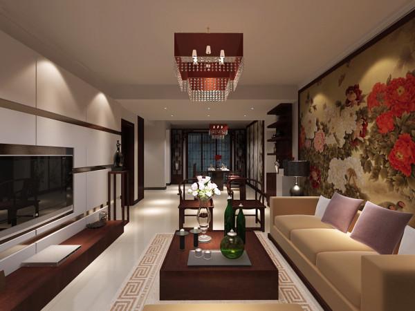 白色纯洁的电视墙,及辅助的卡其色烤漆玻璃条,与花鸟图的壁纸壁画沙发墙对称,再配以米黄色的沙发,艳丽的紫色靠枕,中式的地毯,红胡桃木的家具,红色的 中式纸灯,一切的颜色与材质都在凸显中式的大气。