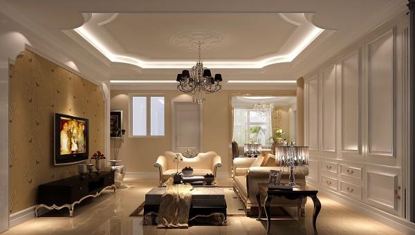 明亮通透的客厅,沙发后面是一组衣帽柜满足了储物的功能,接着是简单大方的欧式造型背景墙,简单花纹的米黄色壁纸,给人一种简单大方的视觉效果,欧式的家具、浑圆的造型吊顶流入出浪漫温馨的生活格调。