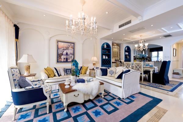 蓝白地中海风格装修设计实景