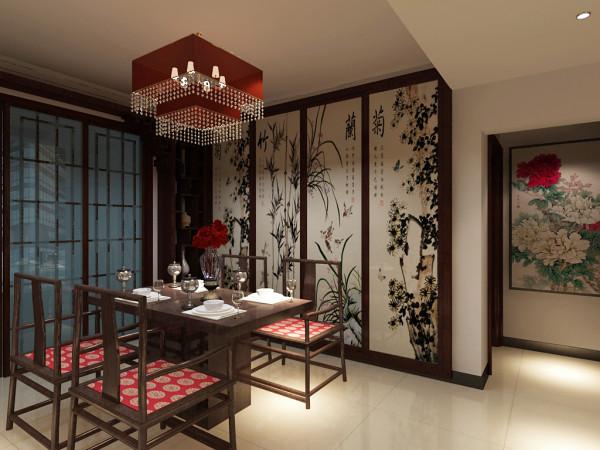 主要表现餐厅以及餐厅背景墙的效果,餐桌椅为中式桌椅,椅子上配以鲜艳的中式坐垫,顶部配以 相应的红色中式吊灯,背景墙采用版的梅兰竹菊附墙壁纸画,来共同营造中式餐厅。
