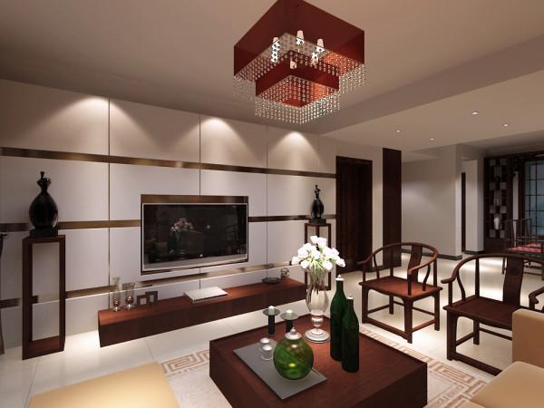 石膏板电视墙,简单而不失大气中间配以壁挂电视,与电视墙造型融为一体,再加上简单的中式电视柜,和一旁的工艺摆件,还有中式的圈椅,中式的地毯, 塑造了一幅简单简约的中式画境。