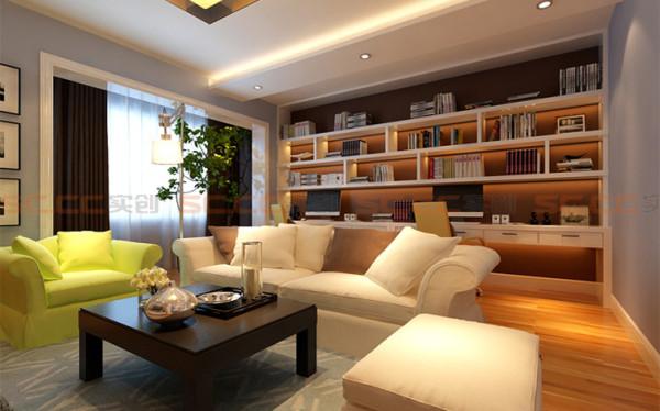 客厅采用大面积的灰蓝色的墙面,配以暖黄色地板,冷静中又不失温馨。没有过多的吊顶装饰,也没有多余的背景墙之类的装饰,用最简单的配色实现鲜明的对比,冷暖交替,大有一半火焰一半水的冲击感。