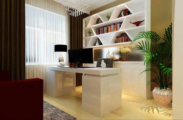 书房的设计在考虑功能的同时比较简洁,作为衣帽间与书房功能共用的空间,分担了其他卧室的功能