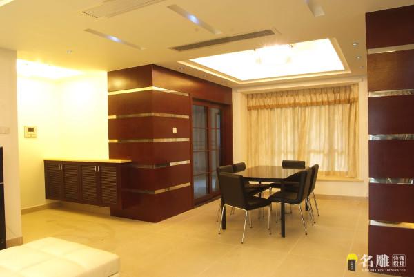 名雕装饰设计—酒店式简约风格—餐厅:米色的哑光地面砖材,浅色的素面墙纸,咖啡色的面板包墙,再配以造型简约现代的灯饰,艺术时尚。