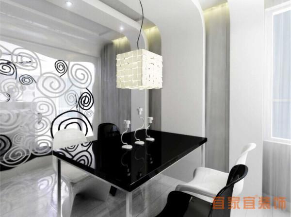 走进餐厅之前一间敞开式的厨房首先映入你的眼帘,黑白搭配的橱柜,更贴近主题