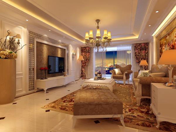 客厅电视墙中间采用了高端壁纸与大马赛克天然玉石装饰,两侧采用门型和门上灯饰装饰。