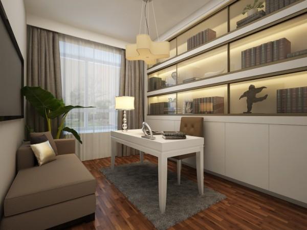 书房在整个空间居室中占较重的部分,主人除了在卧室的时间最多之外,就是在书房空间的活动了,整体没有喧宾夺主的装饰,但不失书房该有的典雅和安静。整体书柜与书桌的完美结合,体现出隐性的人文气息。