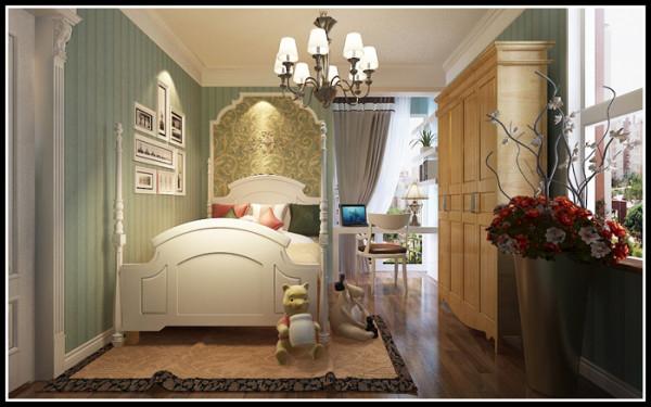 儿童房:在孩子房间运用流畅的PU线条在床头做了个小造型,将孩子的学习座放在阳台,在侧墙上用层板来充当书架。整个空间用起来很舒服。