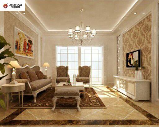 客厅整体采用的是白色与咖啡色点状纹理为主,在整体上给客厅以高雅华贵的视觉感官。