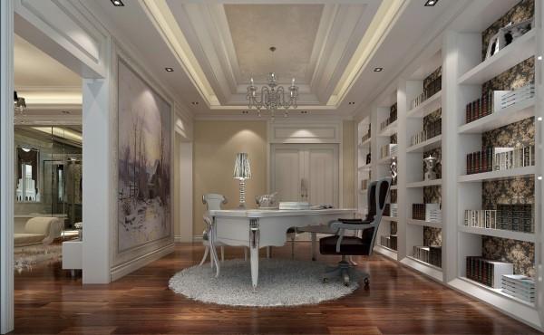 迎宾路3号别墅新古典风格装修设计效果图-书房效果图