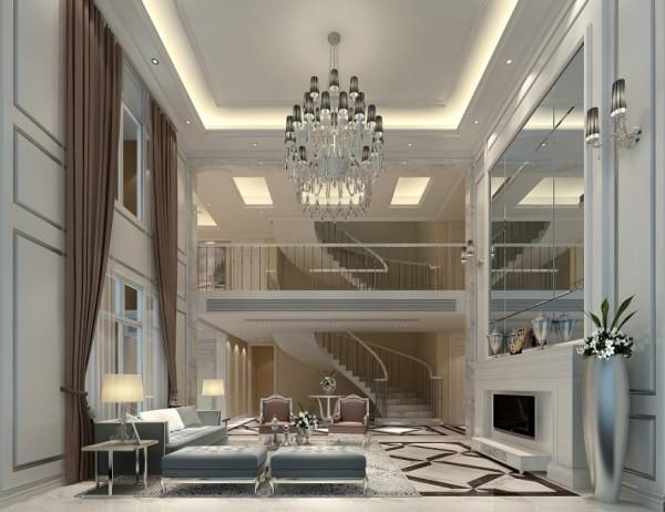 迎宾路3号别墅新古典风格装修设计效果图-客厅效果图