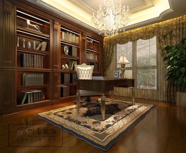 华地学府名都280㎡装修设计,书房效果图。