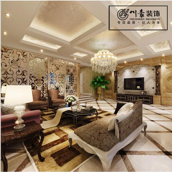 凯旋门320㎡新古典装修风格,客厅效果图。