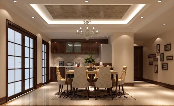 吧台台面与餐桌的淡雅台面形成呼应将整个开放式厨房及餐厅完全表现出家庭活跃的氛围