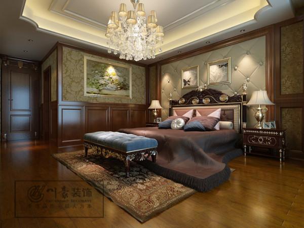 华地学府名都280㎡装修设计,卧室效果图。