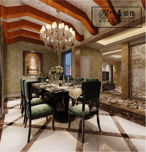 凯旋门320㎡新古典装修风格,餐厅效果图。