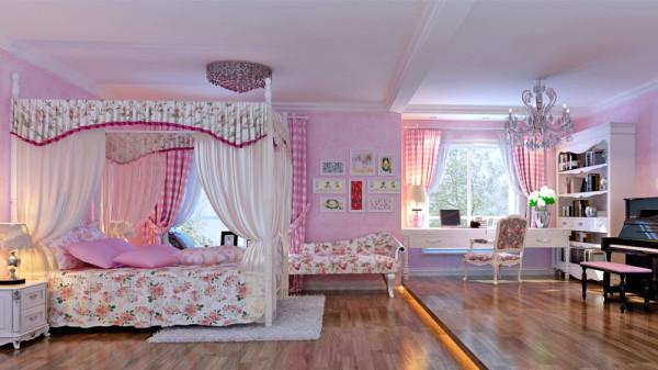 女儿房墙面为粉红色壁纸,浅色复合木地板,窗帘选择格子的窗帘,暖暖的灯光洒满整个空间,安安心心 学习,阳台的藤制桌椅给消遣提供一种可能,然后踏踏实实做个美梦。