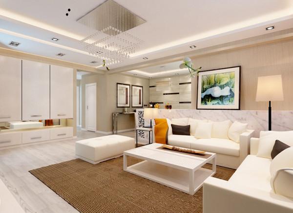 客厅一眼望去简洁明快,极简的直线线条勾勒出业主的性格,客厅的色彩以咖色为主,家具以白色为主,整个色调干净整洁又不像大白墙单调乏味,能很好的体现出业主的品味,时尚优雅。