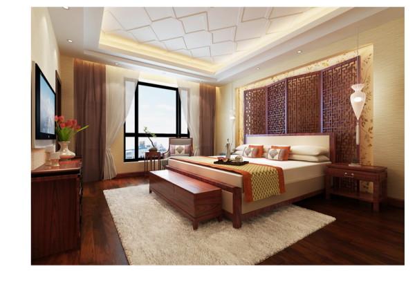 中式背景壁纸,配以屏风做出主卧背景墙,中式味道浓厚。