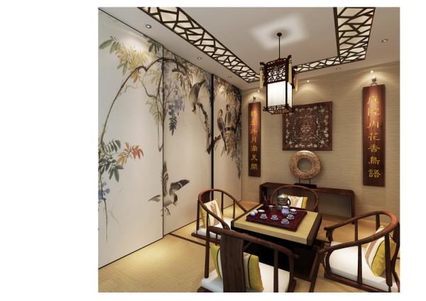 中式榻榻米,顶面花格造型,书香氛围浓重,供主人及朋友休闲娱乐。