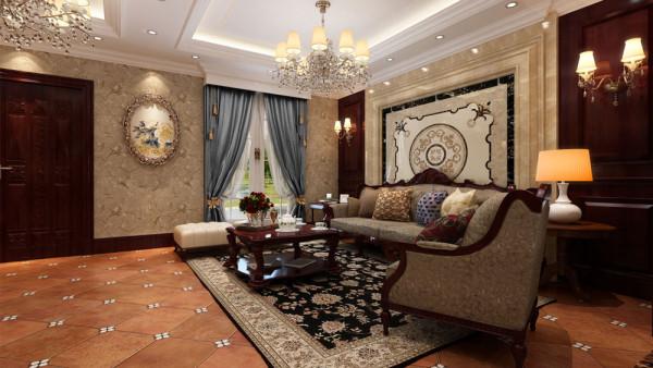 墙面用高档壁纸,以烘托豪华效果。地面材料以石材为主 。欧式客厅用家具和软装饰营造出整体效果。