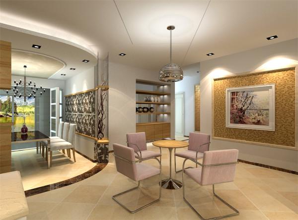 """把玄关和客餐厅分开成两个相对独立的区域;另外从顶面对客餐厅进行一个有效的区域划分。按照客户""""现代、简洁明快、温馨""""的要求进行了一系列的家具和色彩的调配。"""