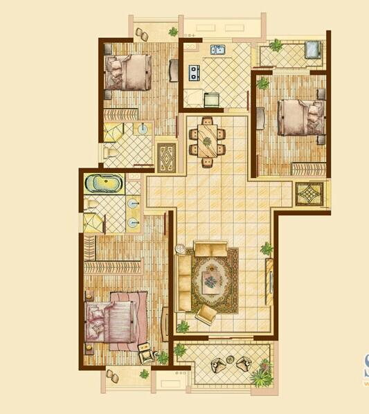 三居 别墅 客厅 卧室 厨房 餐厅 白领图片来自武汉实创装饰公司晓燕在世贸锦绣长江148平/三居室的分享