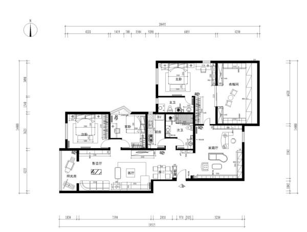 入户右侧的家庭厅,突出的是它的功能性,结合了展示架,储物柜,休息区,书房。相连的是主卧,主卧所有墙面整体运用了碎花壁纸,地面土黄色实木复合地板的搭配。