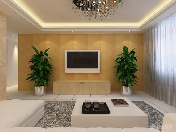 客厅通铺的浅黄色壁纸和通刷的乳胶漆还有简洁的木色家具显得整个居室温馨又舒适