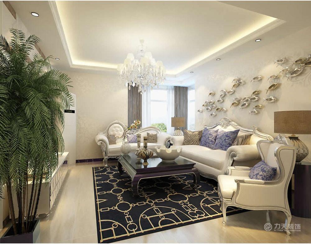 小资 80后 二居 混搭 收纳 白领 新古典 客厅图片来自阳光力天装饰梦想家更爱家在远洋万和城两室两厅124平米的分享