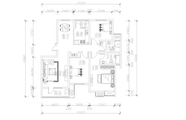 此户型是天房彩郡二期新尚园15号楼标准层I户型3室2厅2卫1厨 140.27㎡,设计风格是简约风格。首先入户进门,直对着是卫生间,左边是餐厅,厨房,厨房阳台和次卧室,
