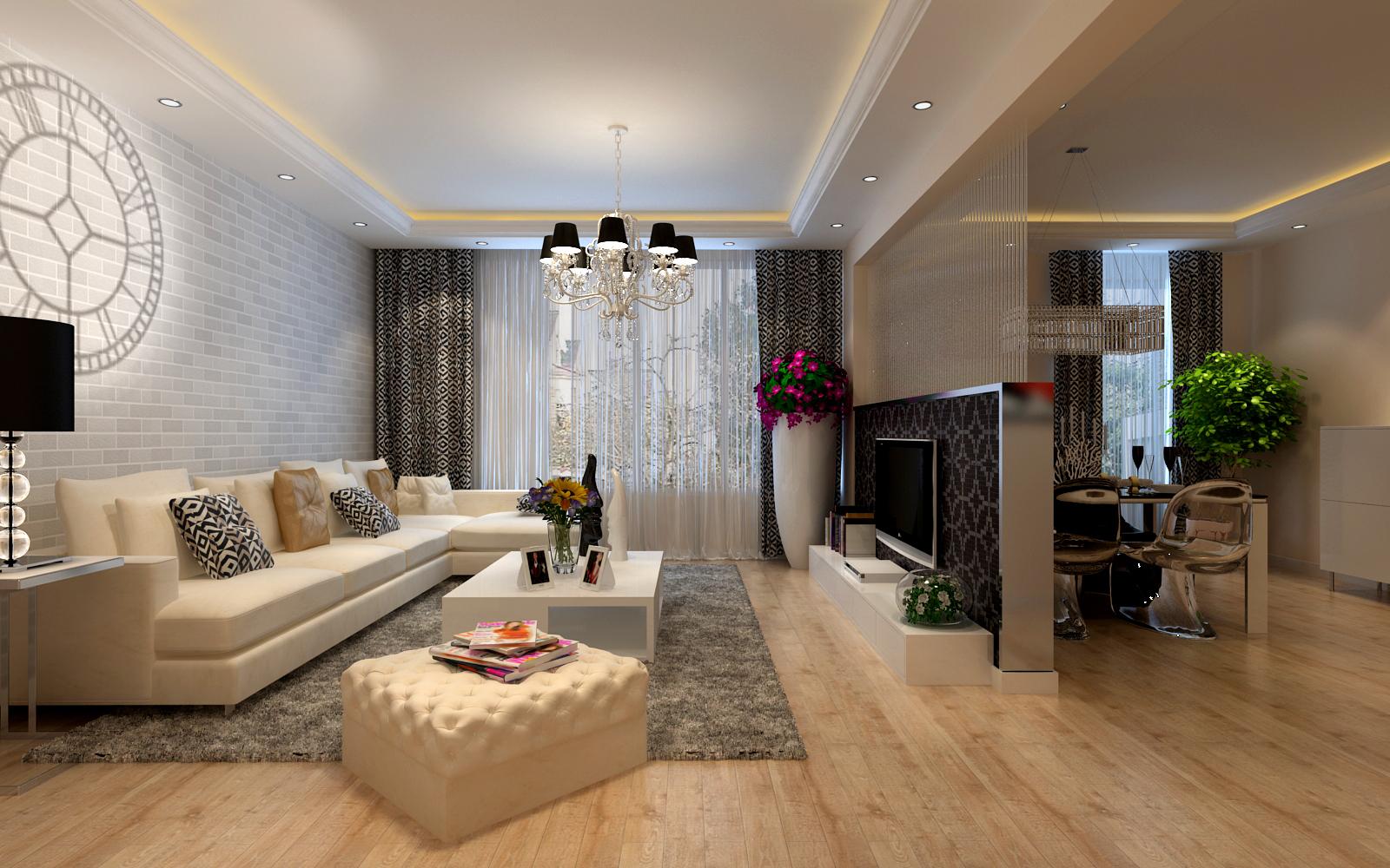 简约 二居 白领 收纳 80后 小资 客厅图片来自实创装饰百灵在设计简洁却有不失潮流感90㎡两居的分享