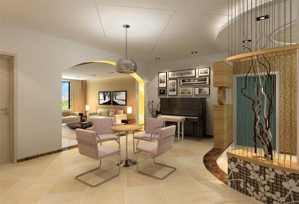 """另外从顶面对客餐厅进行一个有效的区域划分。按照客户""""现代、简洁明快、温馨""""的要求进行了一系列的家具和色彩的调配。使之简约中不失明快,温馨中彰显浪漫。有情人的幸福生活从筑家开始。"""