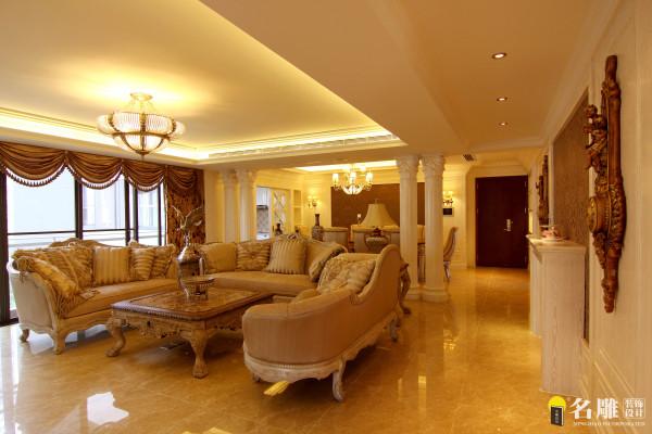 名雕装饰设计—中信红树湾—简欧四居室—客厅:设计上显得格调高雅,充满浓郁的生活气息