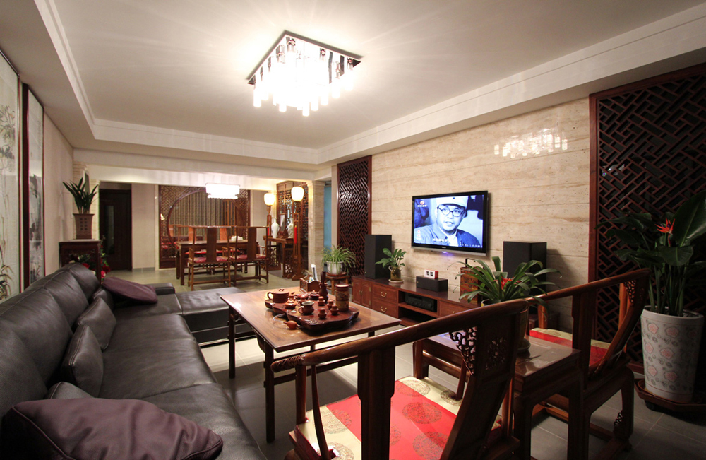 客厅 新中式 卧室 餐厅 实景 绿植 中式风格 装修设计 川豪装饰图片来自合肥川豪装饰王琴在新中式风格实景案例欣赏的分享
