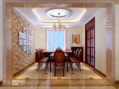 欧式简约 四居室 新房装修 客厅 餐厅 卧室 餐厅图片来自石家庄今朝装饰在金地紫云庭200平欧式简约风格的分享