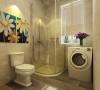 卫生间,顶面是集成吊顶,墙面是300*450的砖,地面时300*300的砖,有一个淋浴房的位置,淋浴房的旁边是洗衣机的空间,马桶的上方挂了两幅彩色的油画,为了给单调的卫生间增加一些色彩。