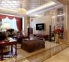 电视墙:精美的设计造型,茶镜的设计和吊顶遥相呼应。