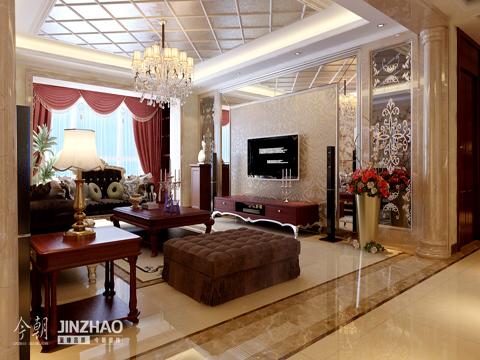 欧式简约 四居室 新房装修 客厅 餐厅 卧室 客厅图片来自石家庄今朝装饰在金地紫云庭200平欧式简约风格的分享
