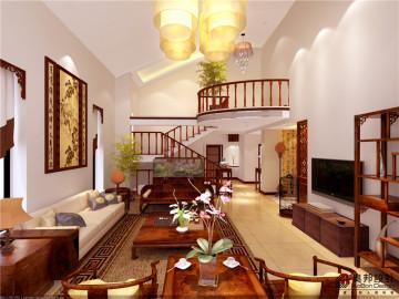 新南路一号挑空别墅新中式风格