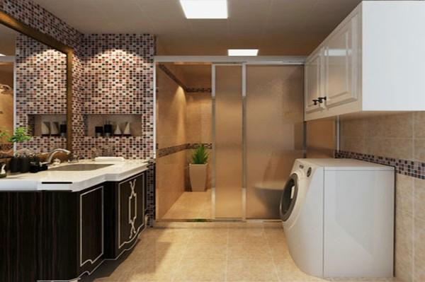 卫生间 设计摒弃了过于复杂的造型和装饰,时尚装饰材料和浪漫温馨的颜色体现了业主的浪漫温情。