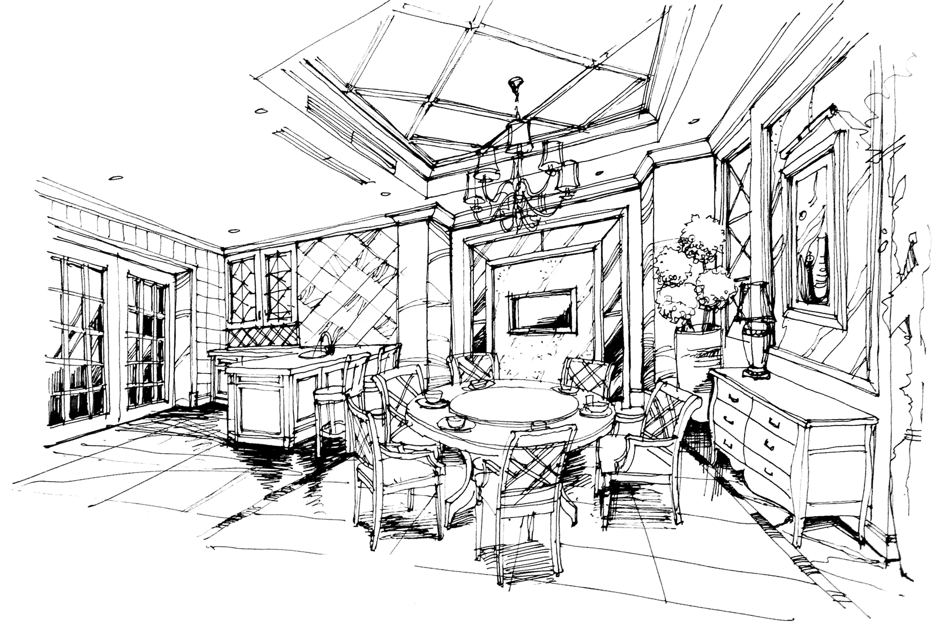 别墅 欧式 手绘 汤臣湖庭 餐厅图片来自孙进进在首席设计师手绘汤臣湖庭别墅的分享