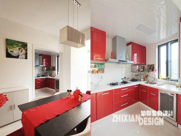 作为婚房设计,红色显然是应情应景的选择。厨房位于餐厅的里间,红色主打,充满了生活的喜悦和满溢的热情。