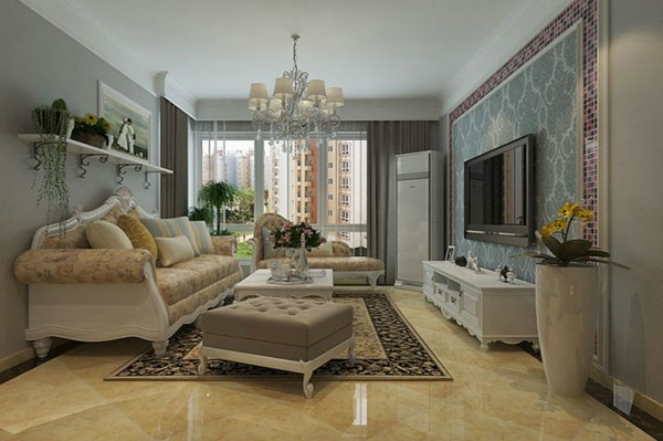 客厅 设计摒弃了过于复杂的造型和装饰,时尚装饰材料和浪漫温馨的颜色体现了业主的浪漫温情。