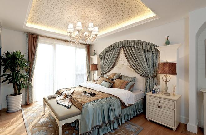 地中海风格 大别墅设计 清新浪漫 温馨舒适 装修实景图 卧室图片来自上海实创-装修设计效果图在浪漫地中海设计400平大别墅设计的分享