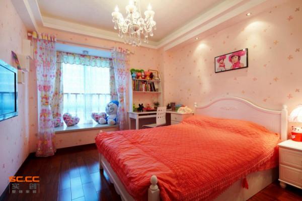 卧室装修效果图 整个空间色彩给人一种温馨浪漫的喜庆感 有木有