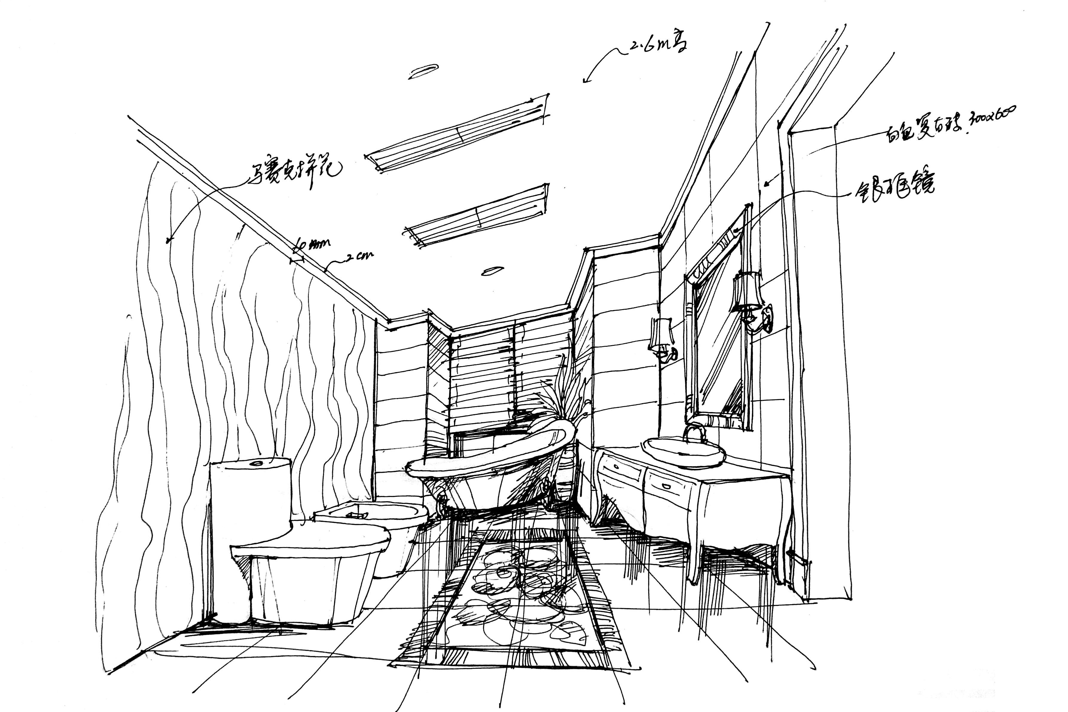 别墅 欧式 手绘 汤臣湖庭 卫生间图片来自孙进进在首席设计师手绘汤臣湖庭别墅的分享