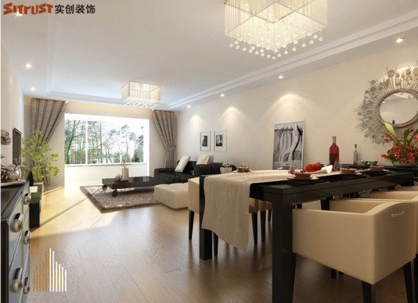 雍和慢城-90平米G户型2居装修-餐厅效果图
