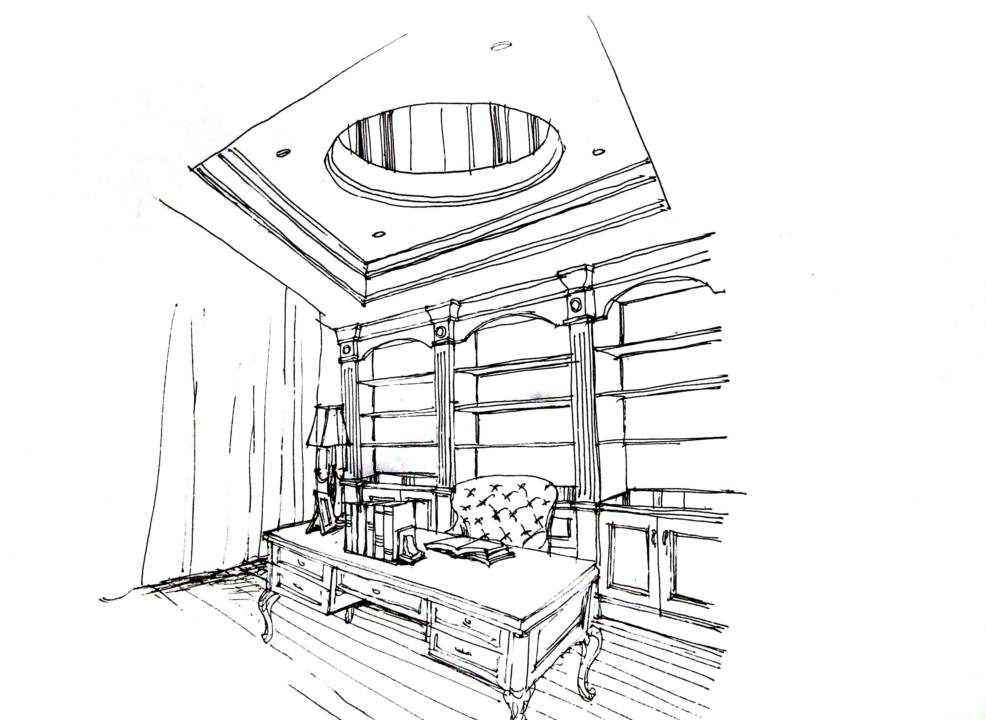 别墅 欧式 手绘 汤臣湖庭 书房图片来自孙进进在首席设计师手绘汤臣湖庭别墅的分享