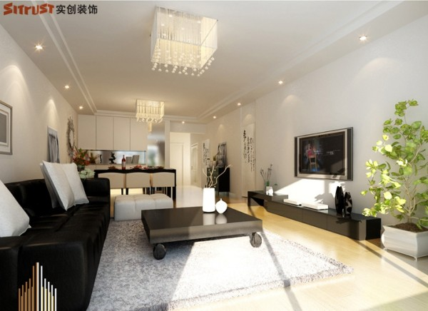 雍和慢城-90平米G户型2居装修-客厅效果图